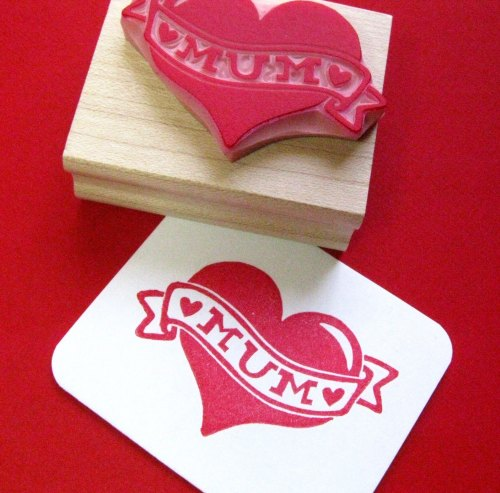 Tattoo Mum Heart Hand Carved Rubber Stamp