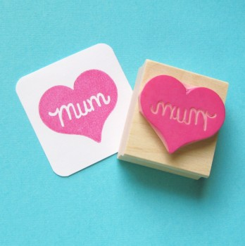 Mum Heart Hand Carved Rubber Stamp