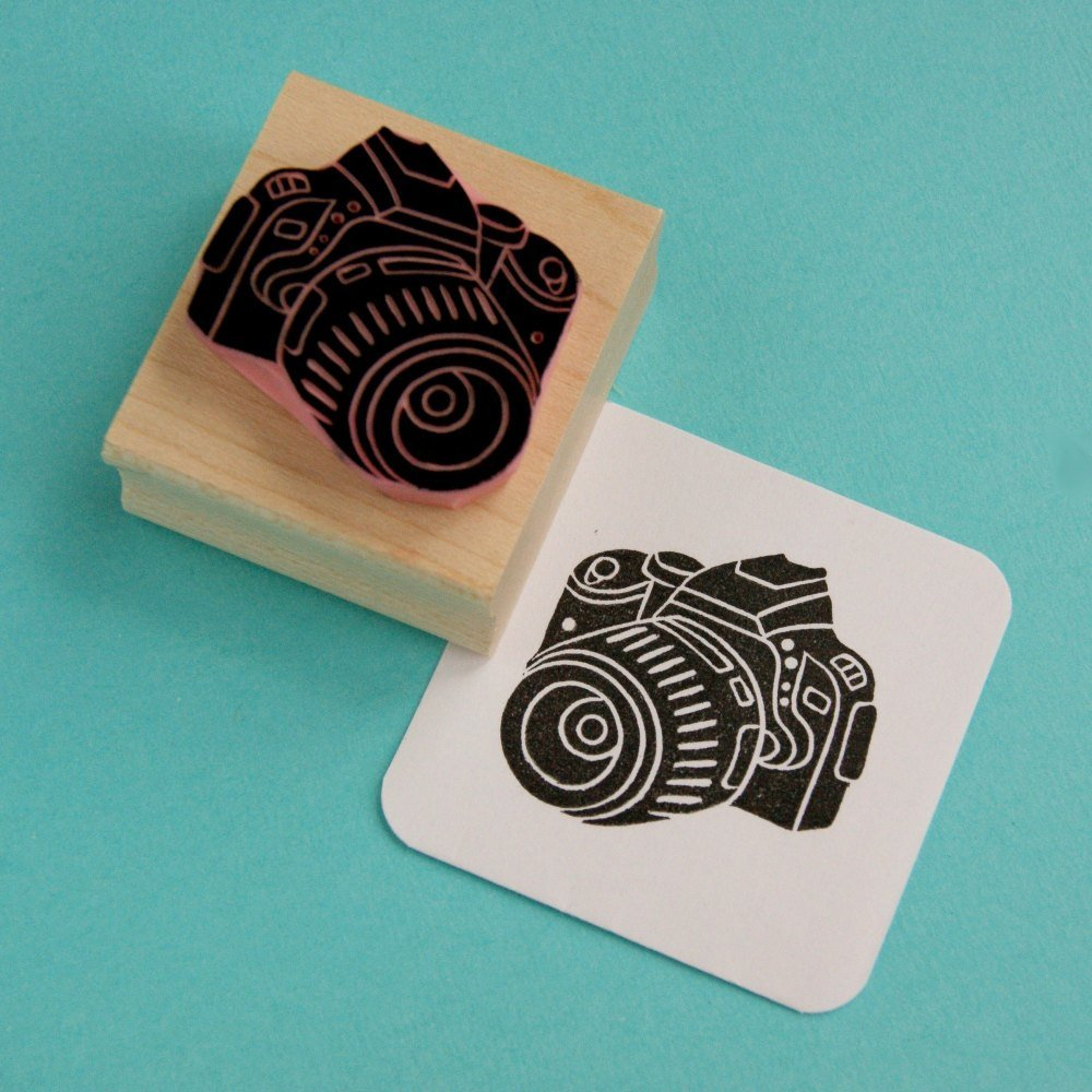 Digital camera hand carved rubber stamp