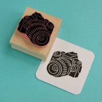 Digital Camera Hand Carved Rubber Stamp