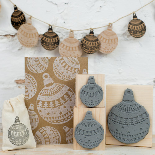 Christmas Bauble Rubber Stamp
