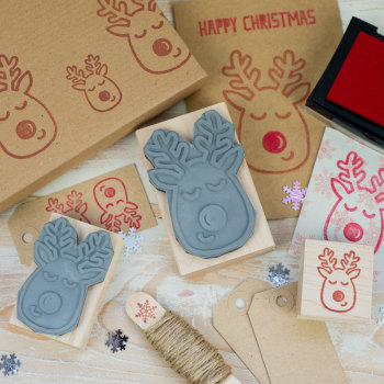 Red Nose Reindeer Rubber Stamp