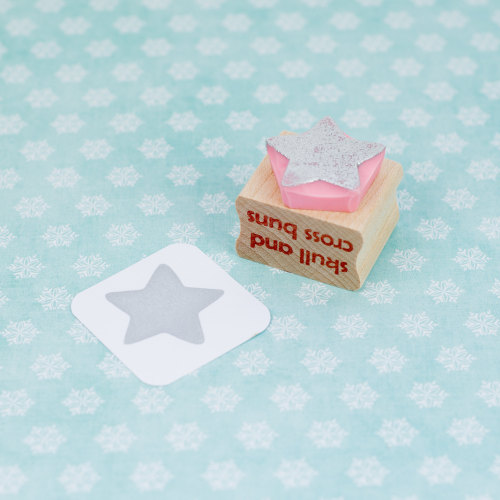 Solid Star Hand Carved Rubber Stamp