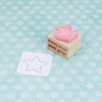 Star Outline Hand Carved Rubber Stamp