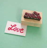 Retro Love Rubber Stamp