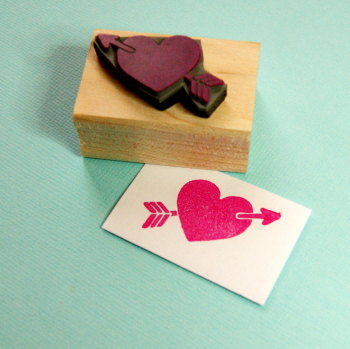 Heart with Arrow Rubber Stamp