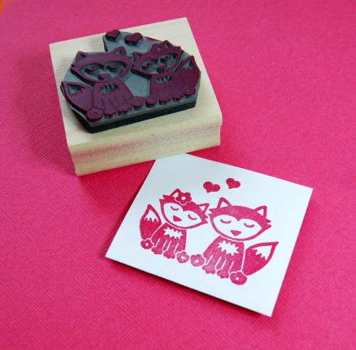 Foxes in Love Rubber Stamp