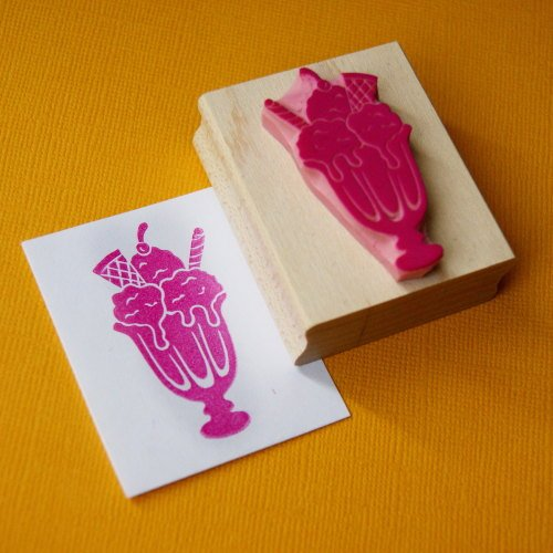 Yummy Ice Cream Sundae Hand Carved Rubber Stamp