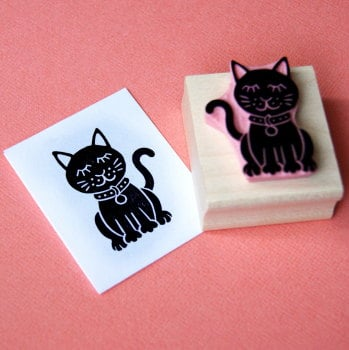 Glamorous Cat Hand Carved Rubber Stamp