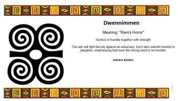 Adinkra Symbol - Dwennimmen