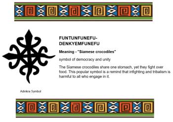 Adinkra Symbol - FUNTUNFUNEFU- DENKYEMFUNEFU