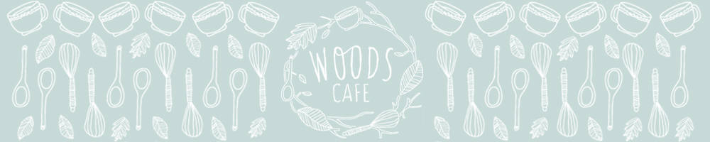 woods cafe, site logo.