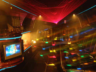 Disco lights inside one of our limos