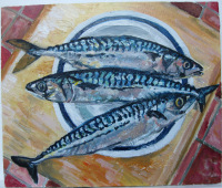 Giclee Print of Three Mackerel on a Plate
