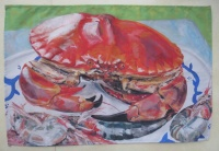 Crab and shrimps tea towel