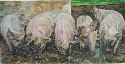 Unframed Giclee Print Of Pigs In Mud