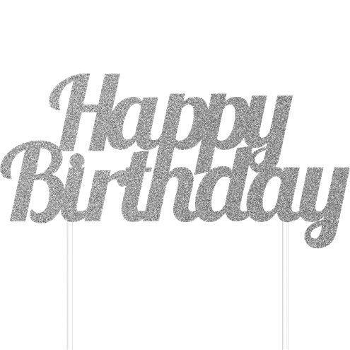 Happy Birthday Cake Topper ~ Silver Glitter Effect Banner