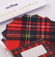 Jam Pot Covers (10 per pack) ~ Easybake Tartan with Labels