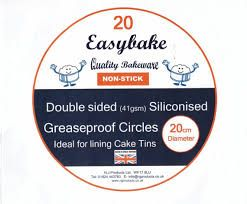 "Easybake Siliconised Greaseproof Circles 8"" / 20cm Round Cake Tin Liner ~ pack of 20"