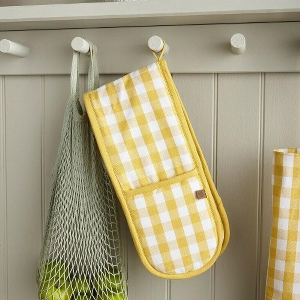 ULSTER WEAVERS ~ Yellow Gingham Double Oven Glove