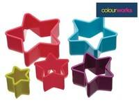 Colour Works - Brightly Coloured Star Cookie Cutters (colours may vary)