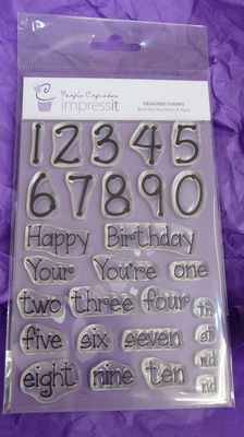 PURPLE CUPCAKES - Impressit Designer Stamp Birthday Numbers & Ages