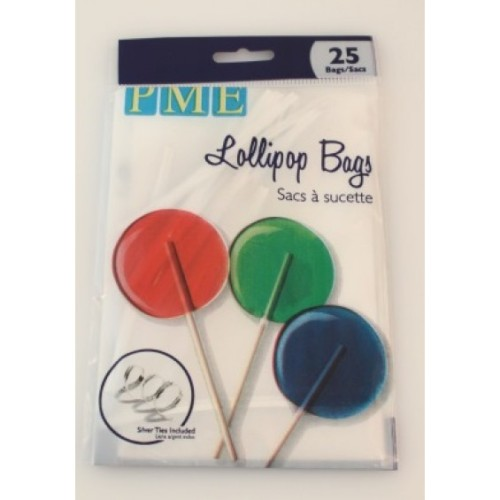 PME Lollipop Bags with Silver Ties x 25 Bags