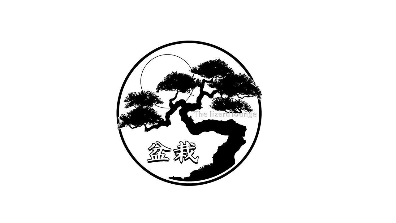 water mark black white bonsai