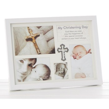 Large Gloss white Christening Frame