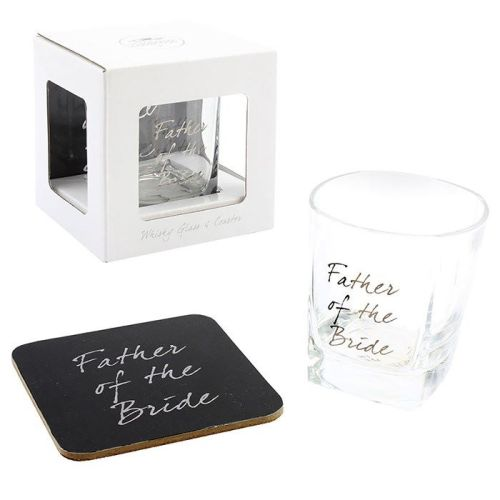 Father of the Bride Whisky Glass and Coaster