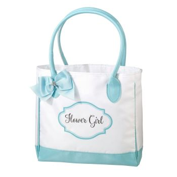 Lillian Rose Aqua and White Flower Girl Tote Bag