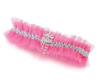 Lillian Rose Hot Pink Rhinestone tulle garter