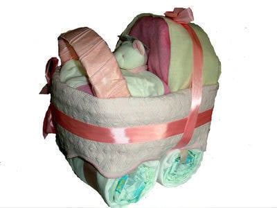 Nappy Cake Pram/Carriage for girl