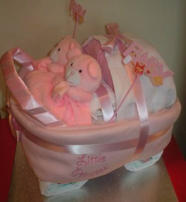 Nappy Cake Pram/Carriage for Twins