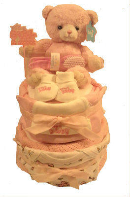 Two tier nappy cake available in 4 colours
