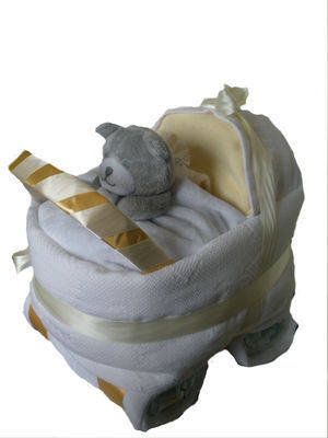 Neutral Nappy Cake Pram/Carriage
