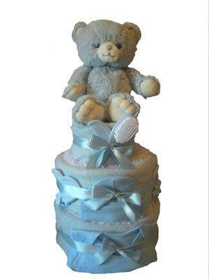 Three Tier Baby Boy Nappy Cake with Teddy