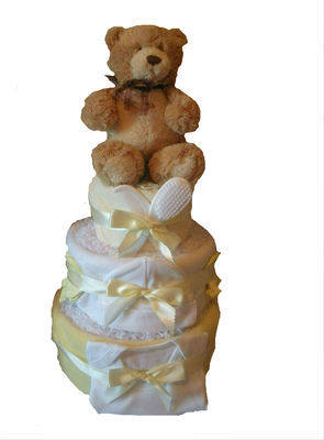 Three Tier Neutral  Nappy Cake with Teddy