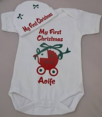Personalised 1st Christmas onesie and hat