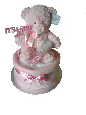 Welcome Baby Girls Nappy Cake
