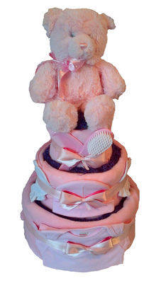 Three Tier Baby Girl Nappy Cake with Teddy