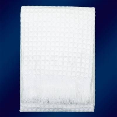 White waffle shawl
