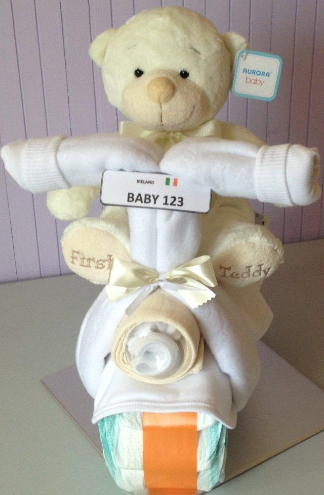 Bertie the Bear on his Nappy Cake Bike!