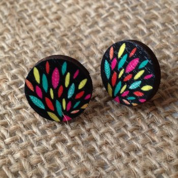 Wooden earrings round multi coloured