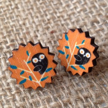 Wooden earrings orange owl design