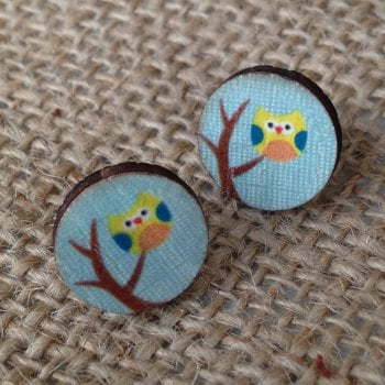 Wooden earrings owls