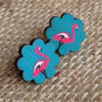 Wooden earrings flamingo