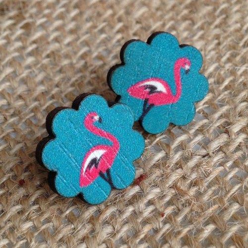 Wooden earrings flamingo