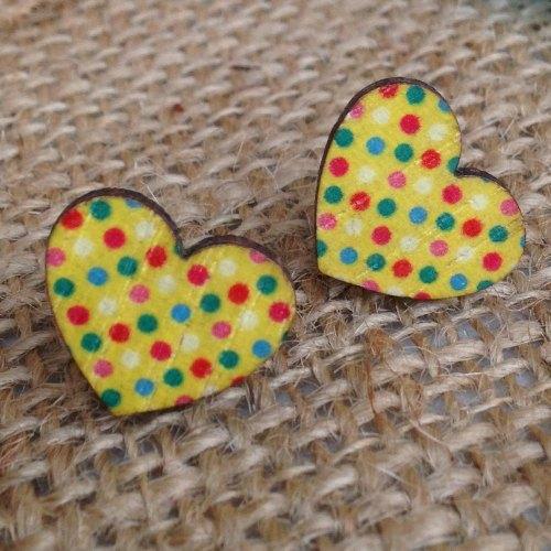 Wooden earrings yellow polka dot hearts