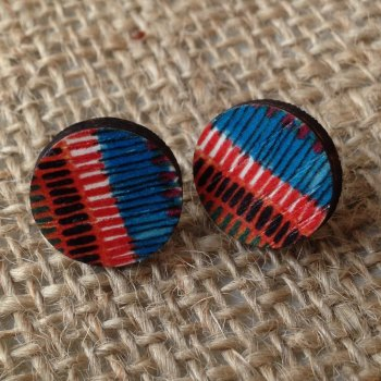 Wooden earrings african design